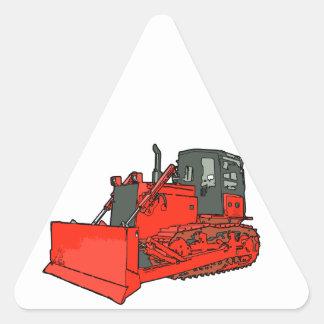 Escavadora vermelha grande adesivo triangular