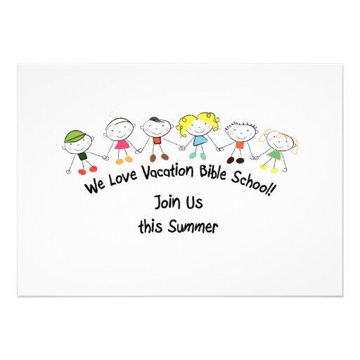Escola da bíblia das férias convite personalizados