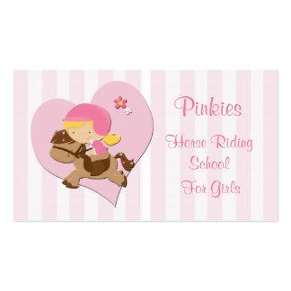 Escola de equitação do coração do rosa da cartão de visita