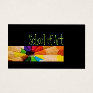 Escola do cartão colorido dos lápis do professor
