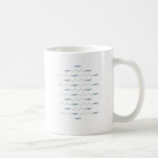 Escola do logotipo da arte do texto dos peixes caneca