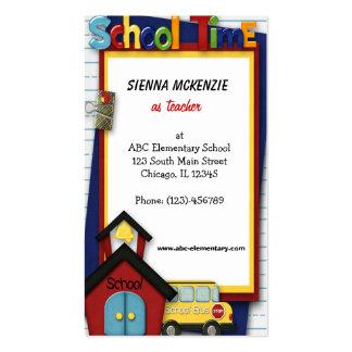 Escola primária do professor cartões de visita