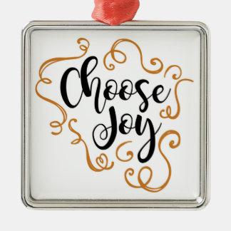 Escolha a alegria, enfeites de natal, quadrado