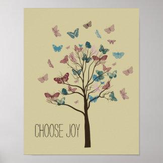 Escolha a árvore das borboletas da alegria pôsteres