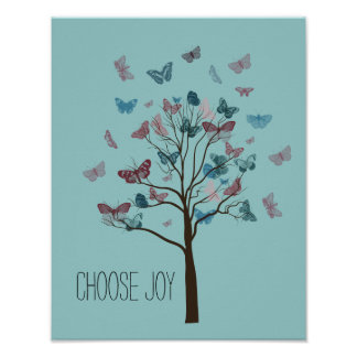 Escolha a árvore das borboletas da alegria posteres