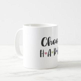 Escolha a caneca feliz, caneca de café das