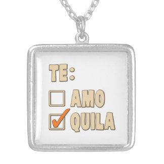 Escolha do espanhol do Tequila de Te Amo Colar Banhado A Prata