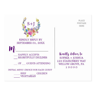 Escolha floral RSVP do menu da grinalda do Cartão Postal