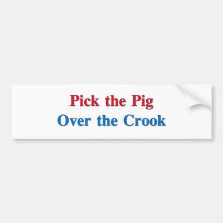 Escolha o porco sobre o trapaceiro adesivo de para-choque