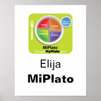 Escolha o poster espanhol de MyPlate - Elija MiPla