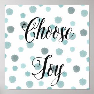 Escolha pontos azuis da aguarela da alegria poster