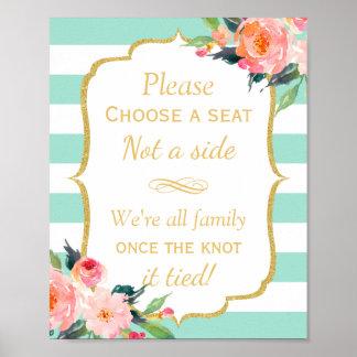 Escolha Seat não as listras laterais de um verde Pôster