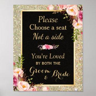 Escolha Seat não um lado - sinal do casamento do Pôster