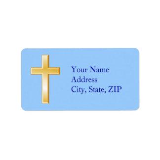 Escolha sua cruz do cristão da cor do fundo etiqueta de endereço
