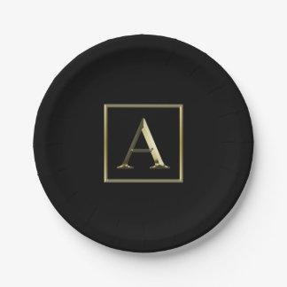 Escolha sua própria placa brilhante do monograma prato de papel