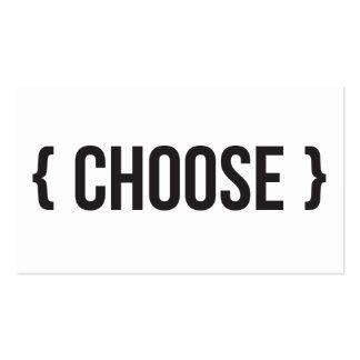 Escolha - suportado - preto e branco cartão de visita