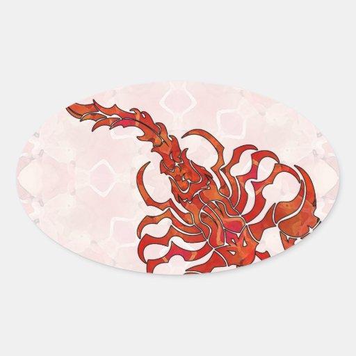 Escorpião 03 da mandala adesivos oval