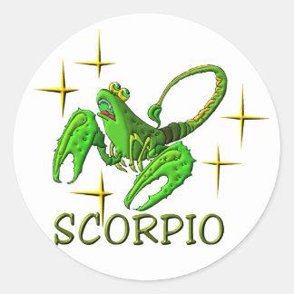 Escorpião 3 (estrelas) adesivo em formato redondo