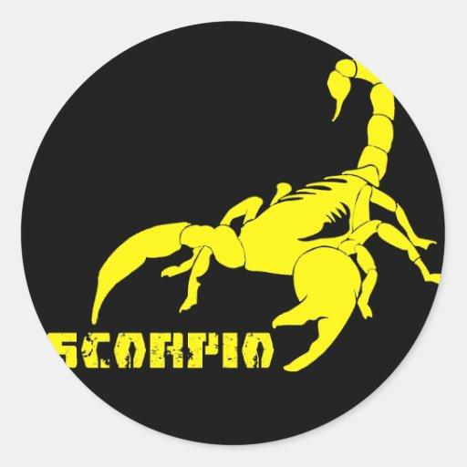 Escorpião - amarelo adesivo redondo