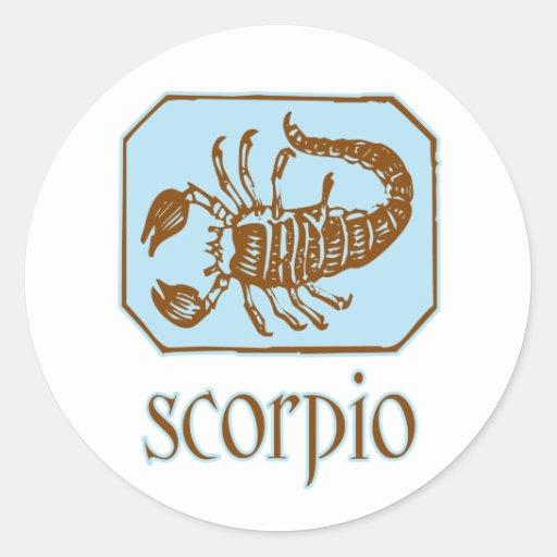 Escorpião azul antiga adesivos redondos
