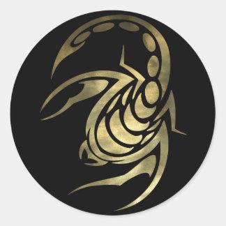 Escorpião da Escorpião do ouro Adesivos Redondos