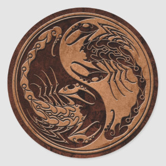 Escorpião de pedra de Brown Yin Yang Adesivos Redondos