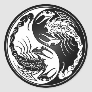Escorpião de Yin Yang Adesivos Redondos