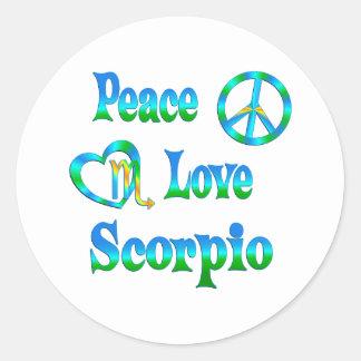 Escorpião do amor da paz adesivos redondos