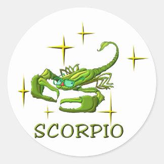 Escorpião (estrelas) adesivo em formato redondo