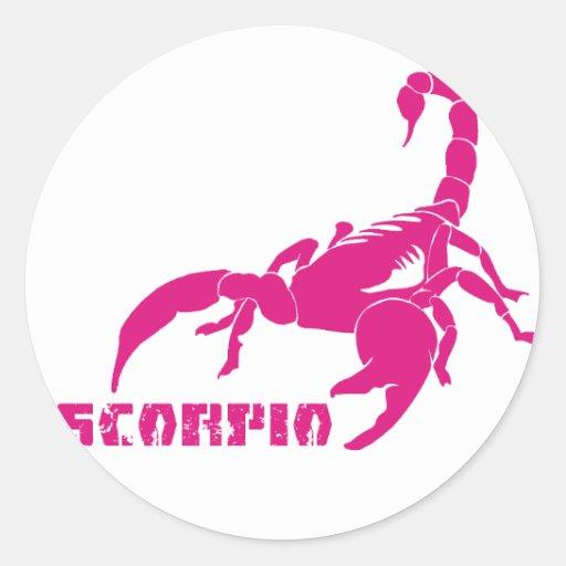 Escorpião - rosa adesivo redondo