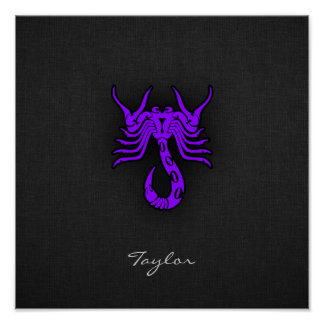 Escorpião roxa violeta posters