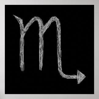 Escorpião. Sinal da astrologia do zodíaco. Preto Poster