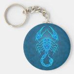 Escorpião tribal azul intrincada chaveiro