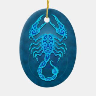 Escorpião tribal azul intrincada enfeites para arvores de natal