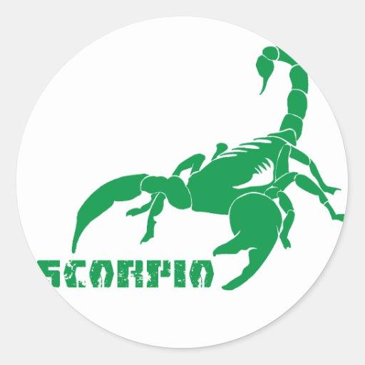 Escorpião - verde adesivos redondos