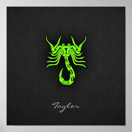 Escorpião verde Chartreuse, de néon Posters
