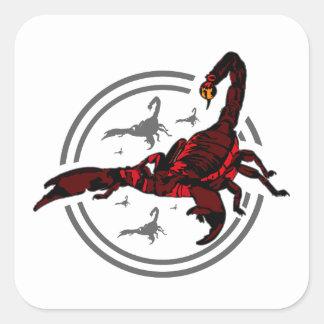 Escorpião vermelho adesivos quadrados
