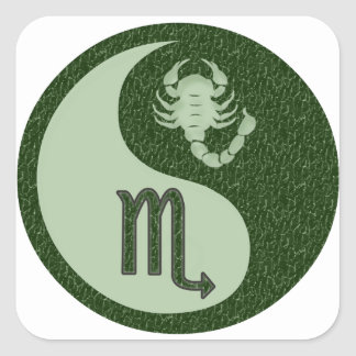 Escorpião Yin Yang Adesivo Em Forma Quadrada
