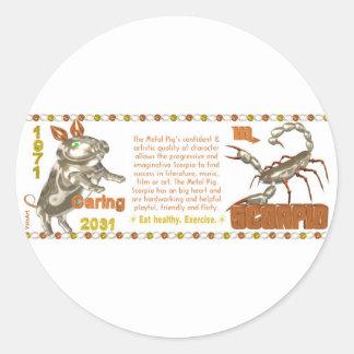 Escorpiões do nascer do zodíaco do MetalPig de Adesivos Redondos