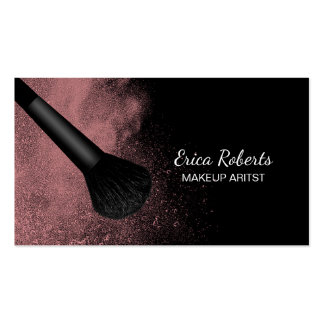 Escova do maquilhador com o salão de beleza cartão de visita