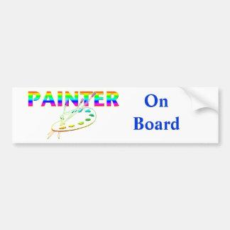 Escovas da paleta e de pintura do pintor adesivo