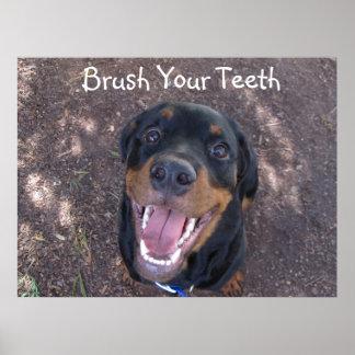 Escove seu poster do filhote de cachorro de pôster