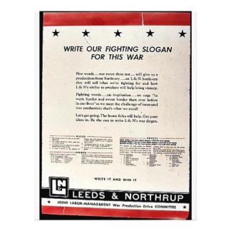 Escreva nosso slogan de combate para esta guerra modelo de panfleto