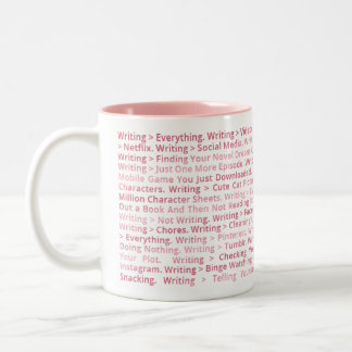 Escrevendo > tudo caneca (rosa)