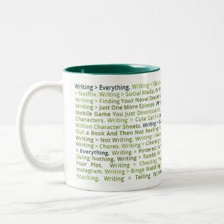 Escrevendo > tudo caneca (verde escuro)