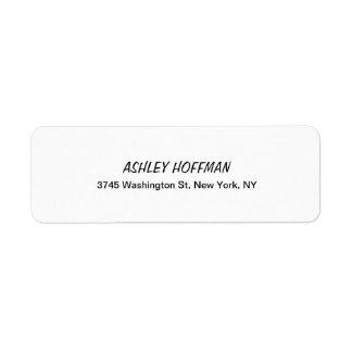 Escrita clássica preta & branca legível etiqueta endereço de retorno