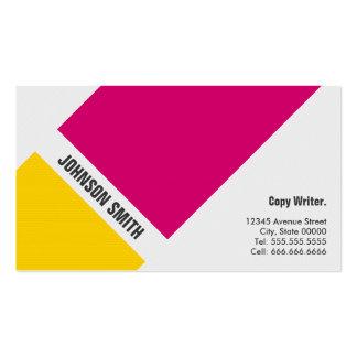 Escritor da cópia - amarelo cor-de-rosa simples cartão de visita