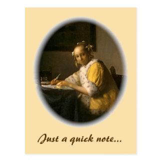 Escritor de letra de Vermeer Cartão Postal