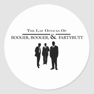 Escritórios de advogados do Booger e do Fartybutt Adesivo Em Formato Redondo