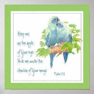 Escritura, 17:8 do salmo sob sua asa pôster